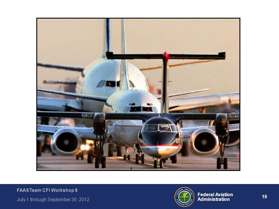15 Federal Aviation Administration FAASTeam CFI Workshop 8 July 1 through September 30, 2012