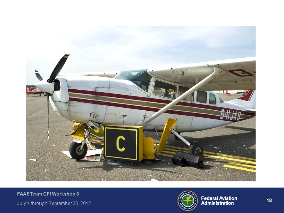 18 Federal Aviation Administration FAASTeam CFI Workshop 8 July 1 through September 30, 2012