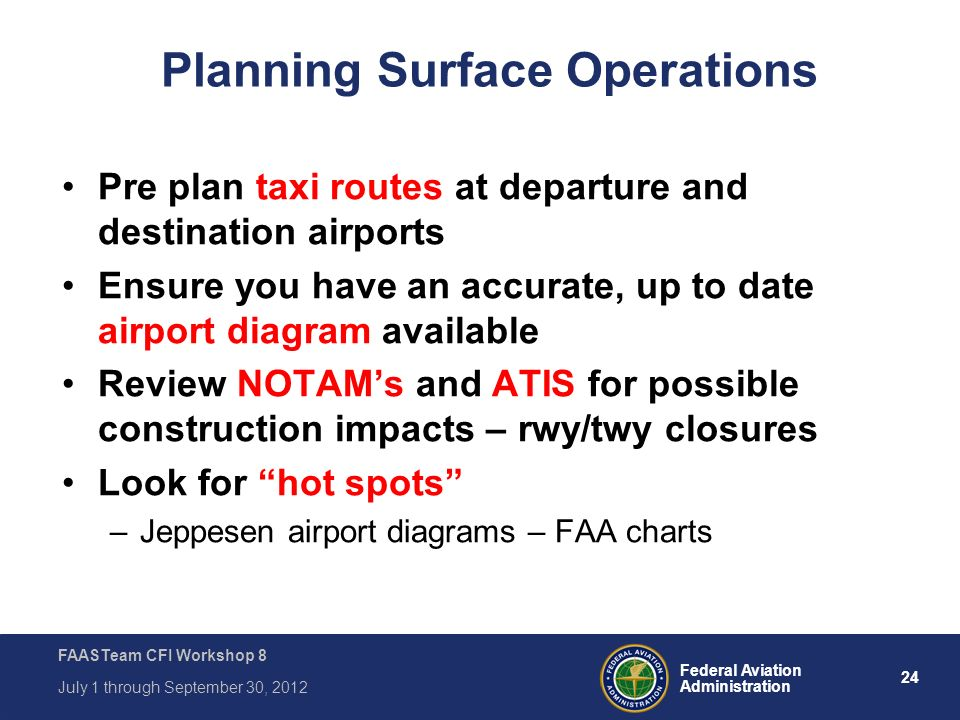 24 Federal Aviation Administration FAASTeam CFI Workshop 8 July 1 through September 30, 2012 Planning Surface Operations Pre plan taxi routes at depar