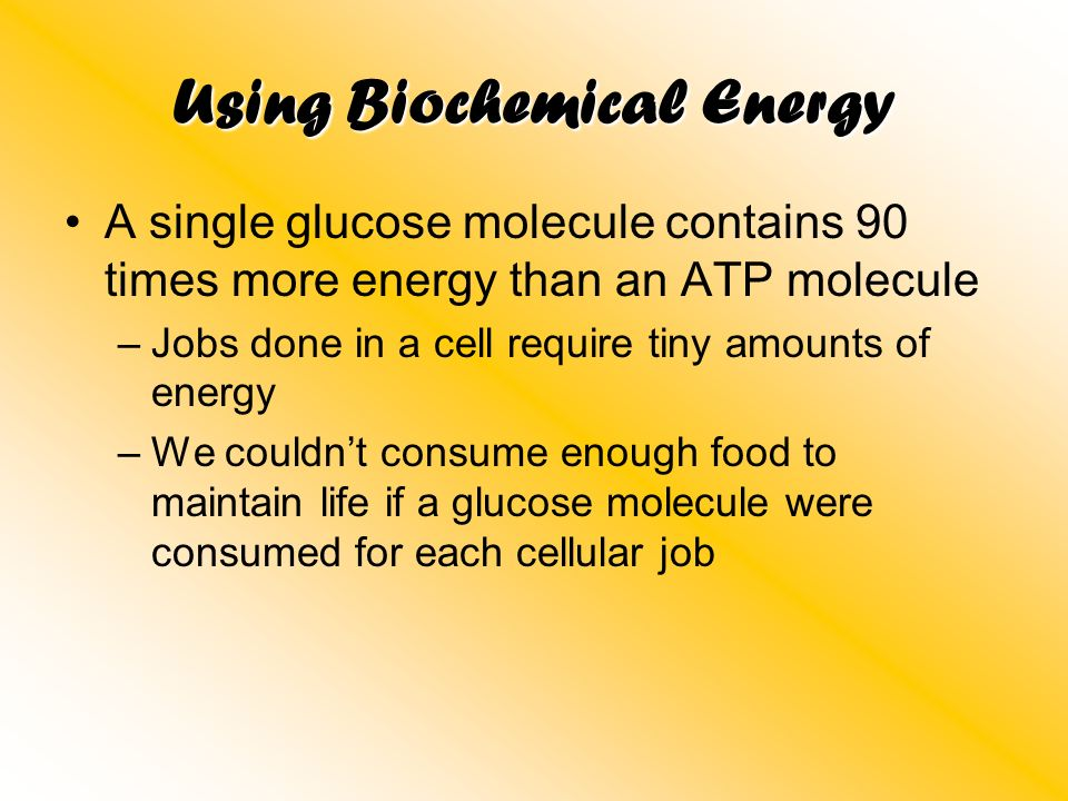 Using Biochemical Energy A single glucose molecule contains 90 times more energy than an ATP molecule –Jobs done in a cell require tiny amounts of ene