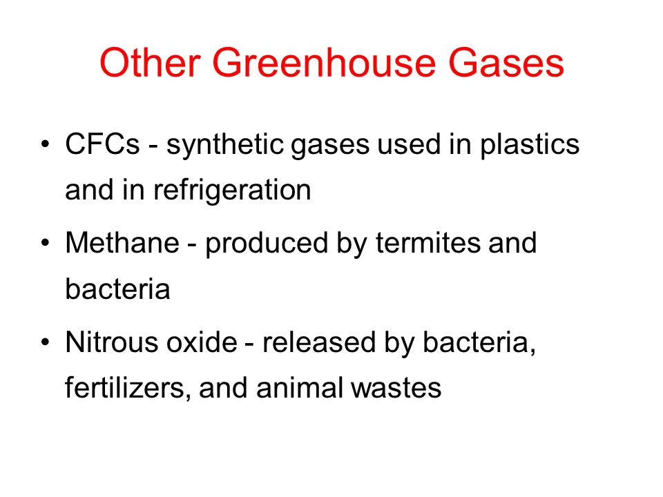 Other Greenhouse Gases CFCs - synthetic gases used in plastics and in refrigeration Methane - produced by termites and bacteria Nitrous oxide - released by bacteria, fertilizers, and animal wastes