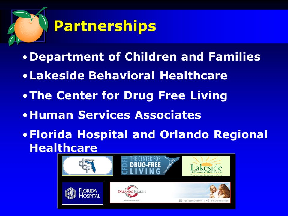 Department of Children and Families Lakeside Behavioral Healthcare The Center for Drug Free Living Human Services Associates Florida Hospital and Orlando Regional Healthcare Partnerships