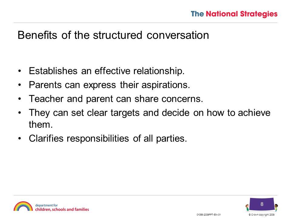 © Crown copyright 200901056-2009PPT-EN-01 29 Framework for the structured conversation