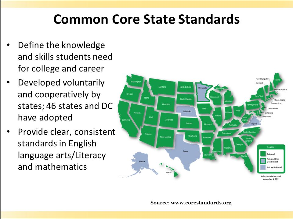 Common Core State Standards Define the knowledge and skills students need for college and career Developed voluntarily and cooperatively by states; 46 states and DC have adopted Provide clear, consistent standards in English language arts/Literacy and mathematics Source: www.corestandards.org