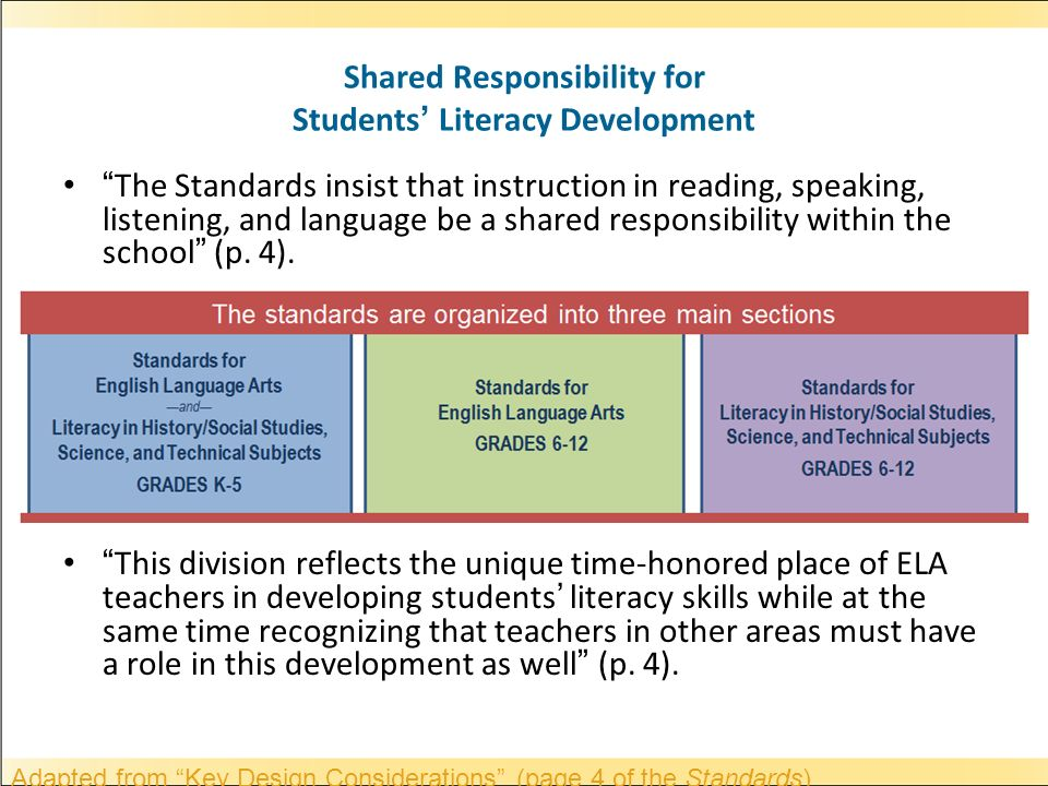 Shared Responsibility for Students Literacy Development The Standards insist that instruction in reading, speaking, listening, and language be a shared responsibility within the school (p.