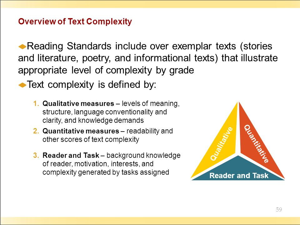 59 Overview of Text Complexity Reading Standards include over exemplar texts (stories and literature, poetry, and informational texts) that illustrate appropriate level of complexity by grade Text complexity is defined by: Qualitative 1.Qualitative measures – levels of meaning, structure, language conventionality and clarity, and knowledge demands Quantitative 2.Quantitative measures – readability and other scores of text complexity Reader and Task 3.Reader and Task – background knowledge of reader, motivation, interests, and complexity generated by tasks assigned