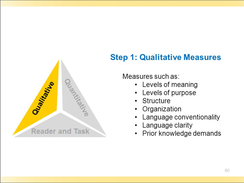 60 Step 1: Qualitative Measures Measures such as: Levels of meaning Levels of purpose Structure Organization Language conventionality Language clarity Prior knowledge demands