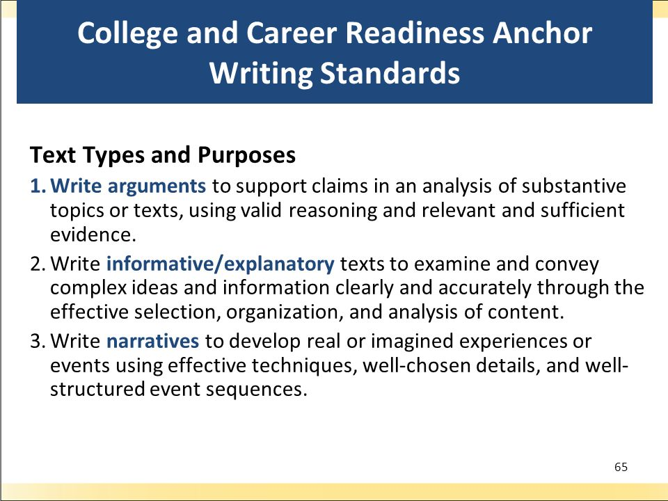College and Career Readiness Anchor Writing Standards Text Types and Purposes 1.Write arguments to support claims in an analysis of substantive topics or texts, using valid reasoning and relevant and sufficient evidence.