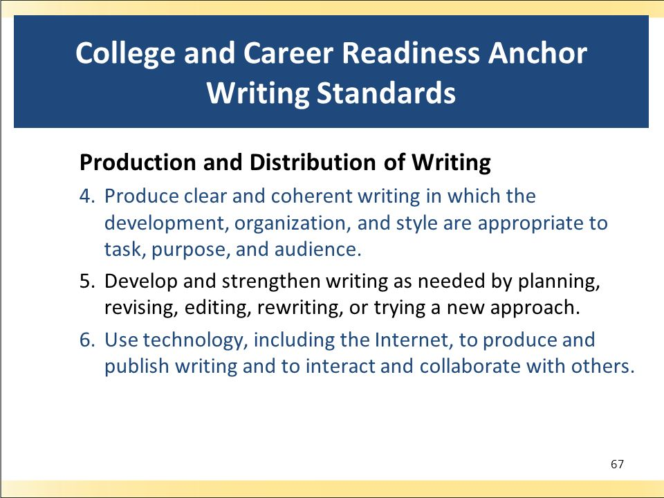 College and Career Readiness Anchor Writing Standards Production and Distribution of Writing 4.Produce clear and coherent writing in which the development, organization, and style are appropriate to task, purpose, and audience.