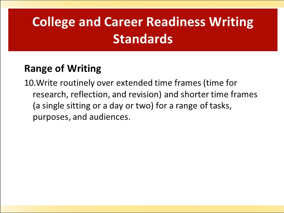 College and Career Readiness Writing Standards Range of Writing 10.Write routinely over extended time frames (time for research, reflection, and revision) and shorter time frames (a single sitting or a day or two) for a range of tasks, purposes, and audiences.