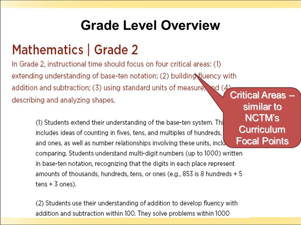 Grade Level Overview Critical Areas – similar to NCTMs Curriculum Focal Points