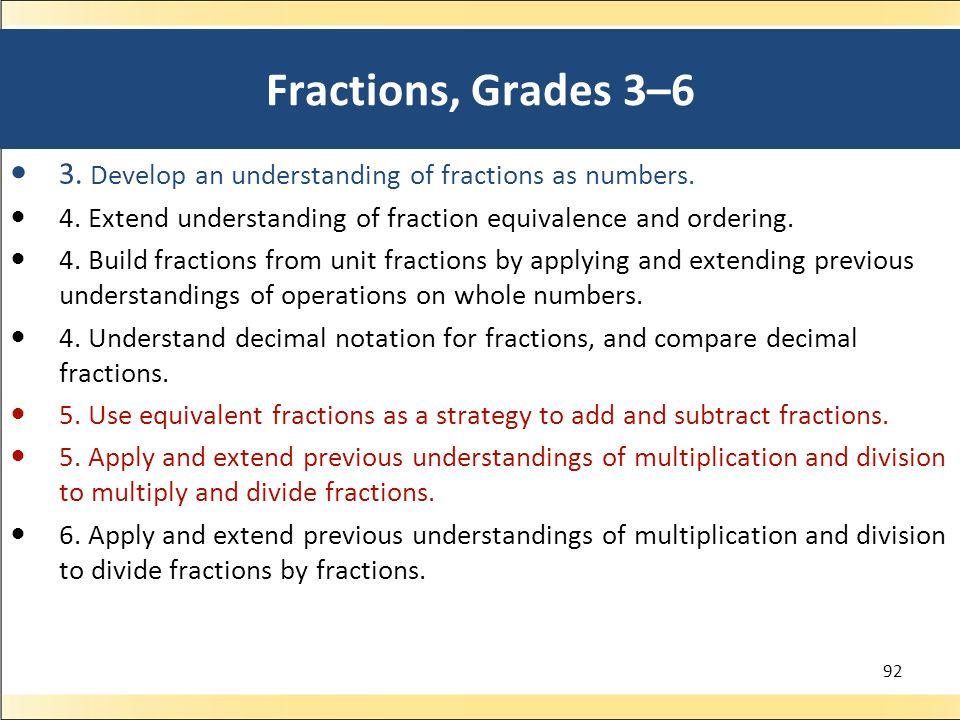 Fractions, Grades 3–6 3.Develop an understanding of fractions as numbers.