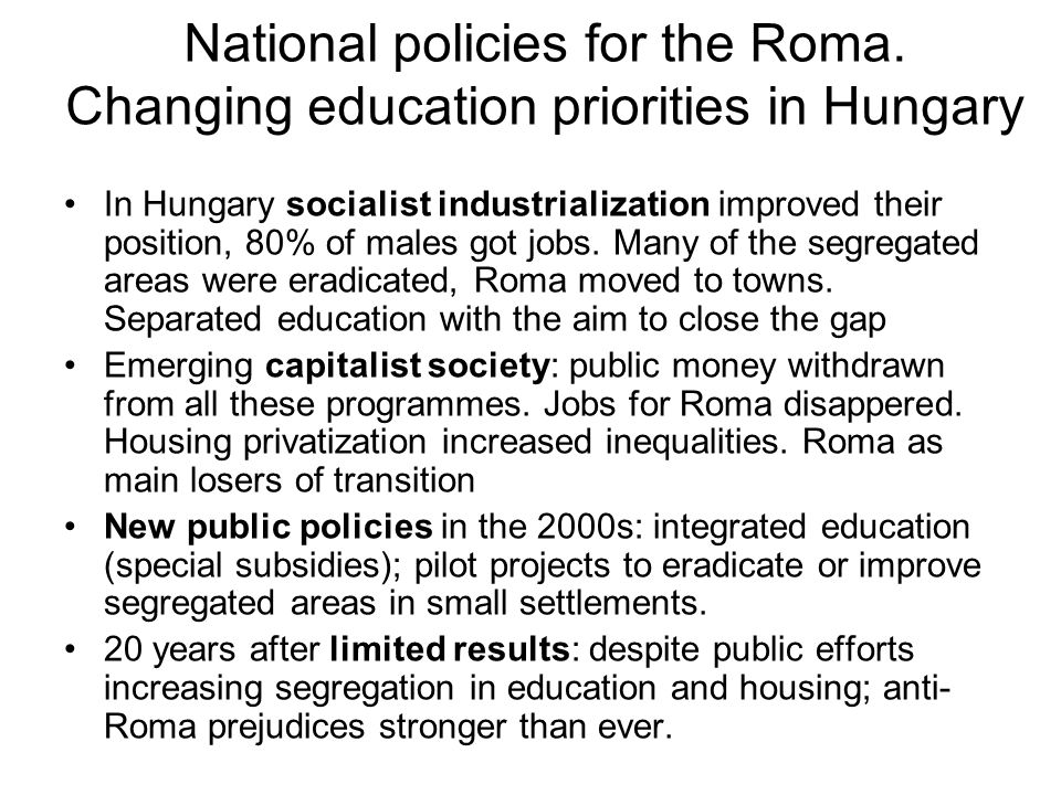National policies for the Roma.