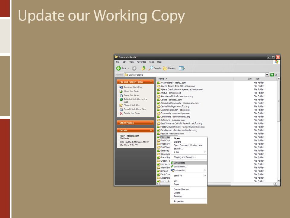 Update our Working Copy