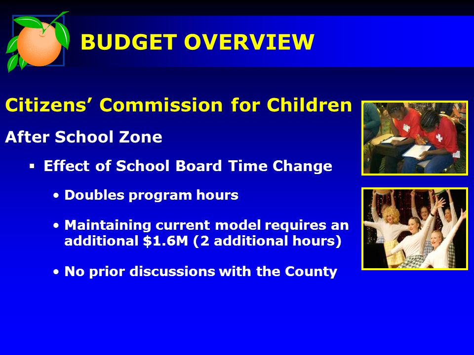 Citizens Commission for Children After School Zone Effect of School Board Time Change Doubles program hours Maintaining current model requires an addi
