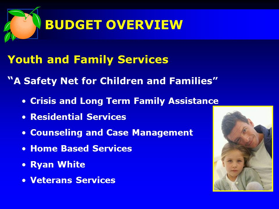 Youth and Family Services A Safety Net for Children and Families Crisis and Long Term Family Assistance Residential Services Counseling and Case Manag