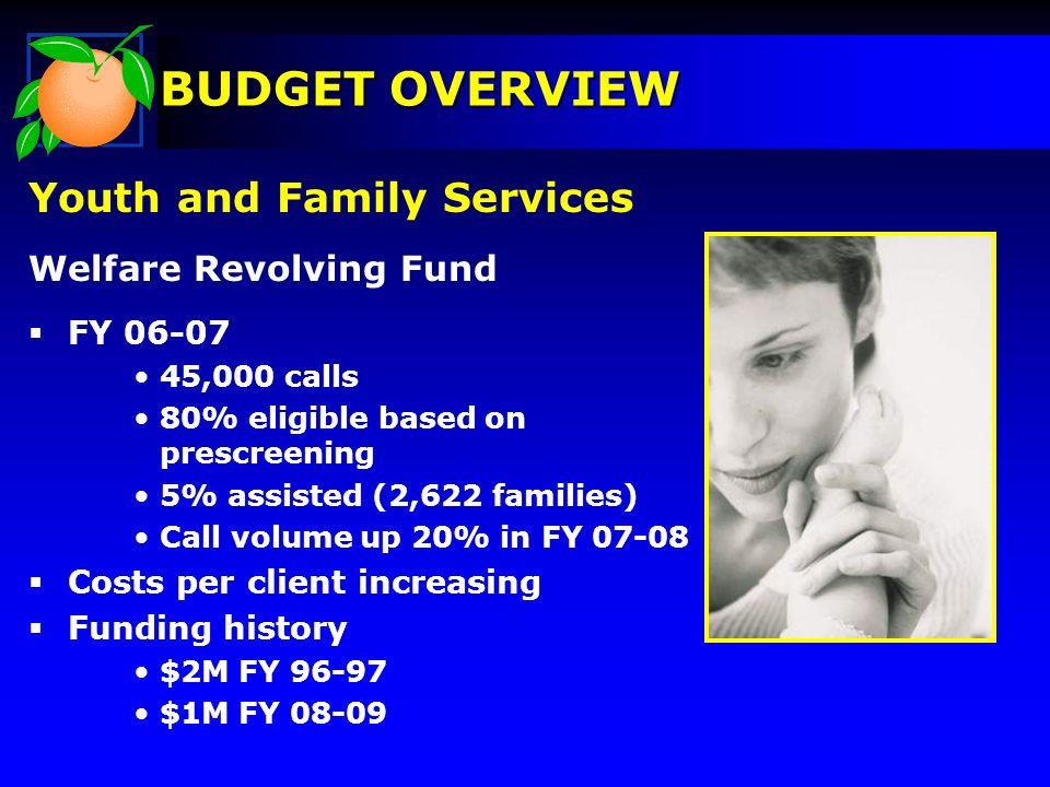 Youth and Family Services Welfare Revolving Fund FY 06-07 45,000 calls 80% eligible based on prescreening 5% assisted (2,622 families) Call volume up