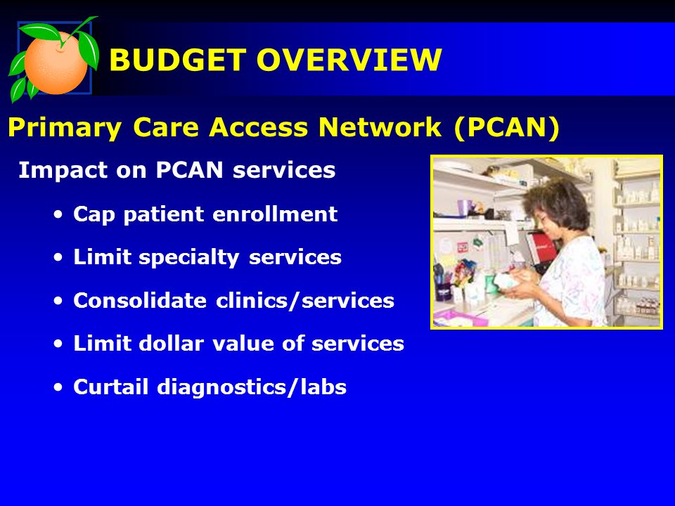 Impact on PCAN services Cap patient enrollment Limit specialty services Consolidate clinics/services Limit dollar value of services Curtail diagnostic