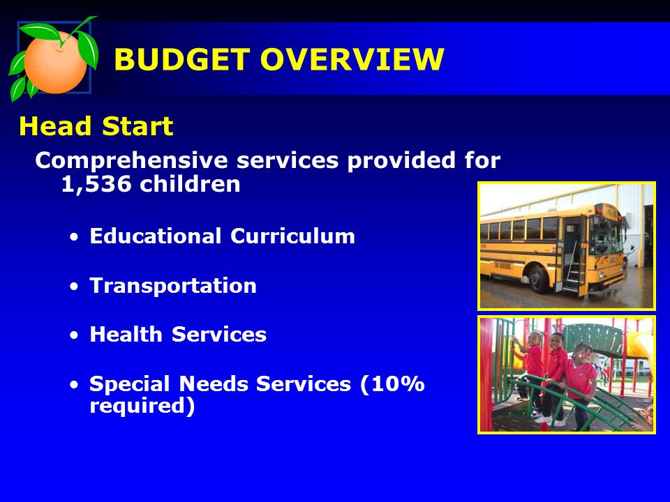 Comprehensive services provided for 1,536 children Educational Curriculum Transportation Health Services Special Needs Services (10% required) BUDGET