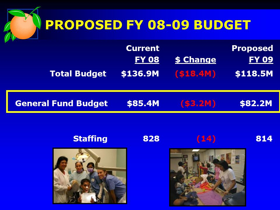 PROPOSED FY 08-09 BUDGET Current FY 08$ Change Proposed FY 09 Total Budget$136.9M($18.4M)$118.5M General Fund Budget$85.4M($3.2M) $82.2M Staffing828(1
