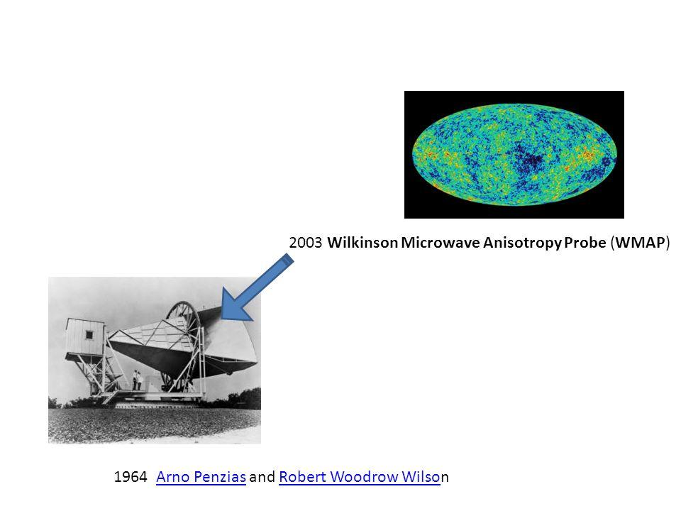 1964 Arno Penzias and Robert Woodrow WilsonArno PenziasRobert Woodrow Wilso 2003 Wilkinson Microwave Anisotropy Probe (WMAP)