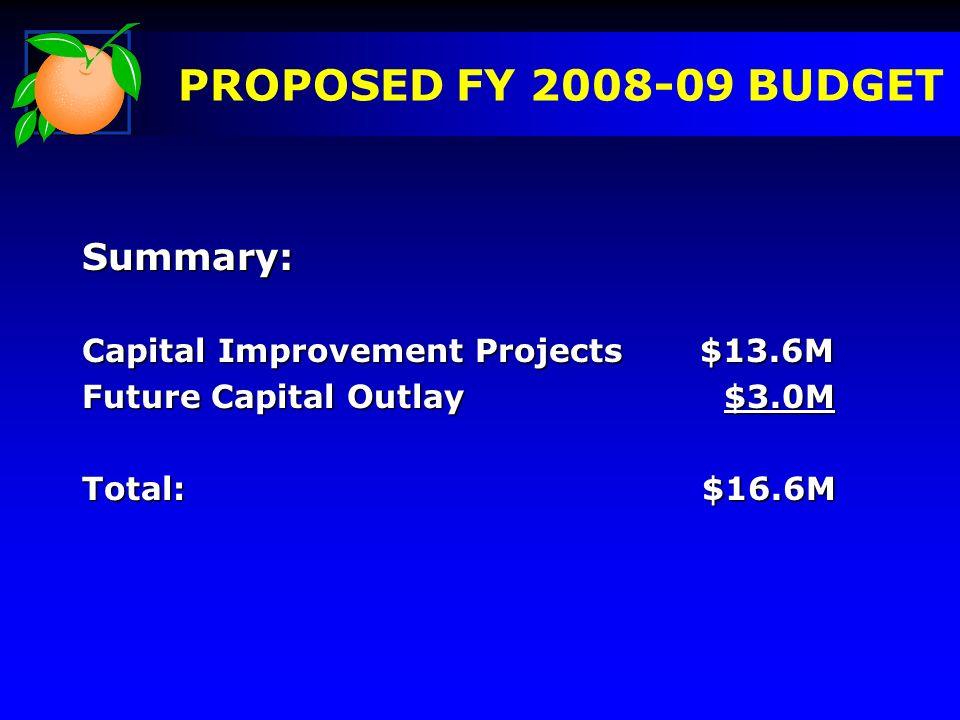 Summary: Capital Improvement Projects $13.6M Future Capital Outlay $3.0M Total: $16.6M PROPOSED FY 2008-09 BUDGET