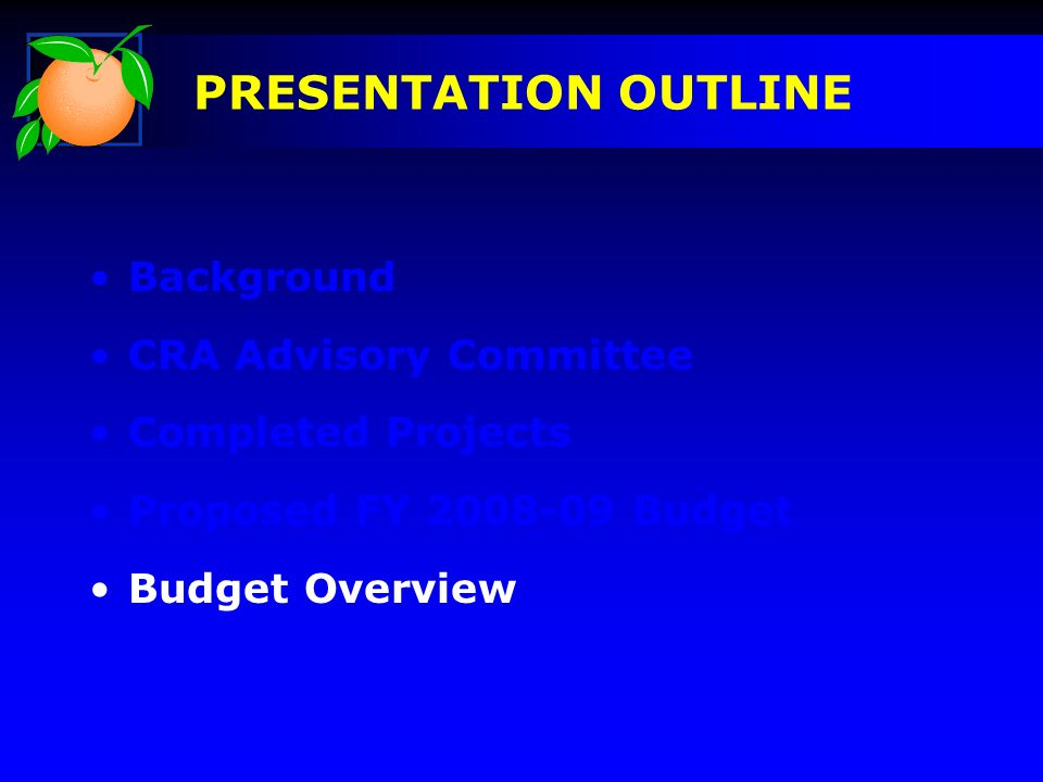 Background CRA Advisory Committee Completed Projects Proposed FY 2008-09 Budget Budget Overview PRESENTATION OUTLINE