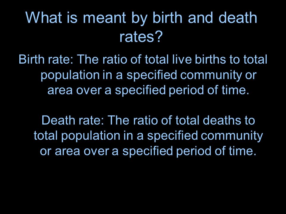 What is meant by birth and death rates.