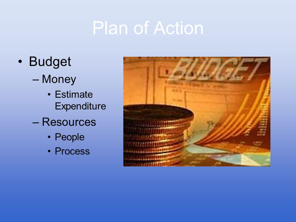 Plan of Action Budget –Money Estimate Expenditure –Resources People Process