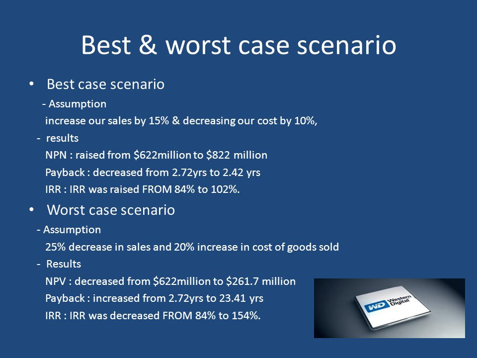 Best & worst case scenario Best case scenario - Assumption increase our sales by 15% & decreasing our cost by 10%, - results NPN : raised from $622mil