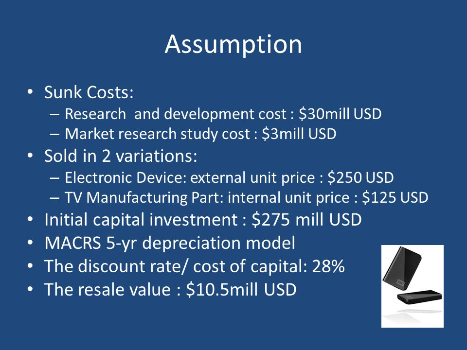 Assumption Sunk Costs: – Research and development cost : $30mill USD – Market research study cost : $3mill USD Sold in 2 variations: – Electronic Devi