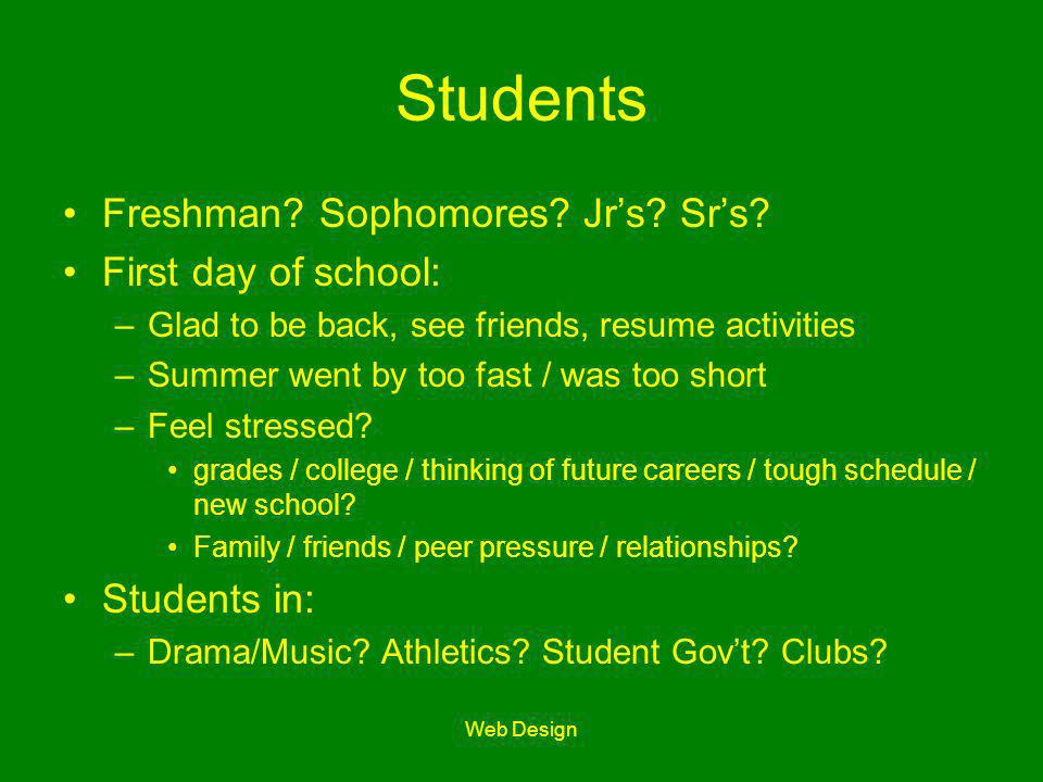 Web Design Students Freshman? Sophomores? Jrs? Srs? First day of school: –Glad to be back, see friends, resume activities –Summer went by too fast / w