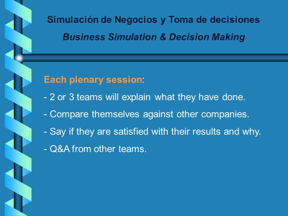 Simulación de Negocios y Toma de decisiones Business Simulation & Decision Making Each feedback session will include : - Feedback on results - Compari