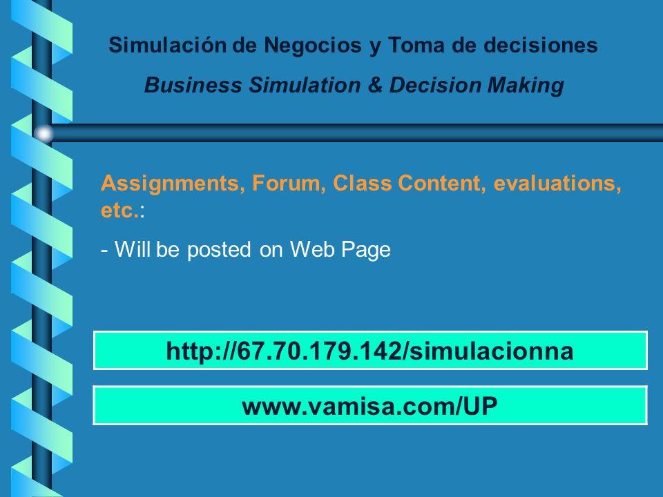 Simulación de Negocios y Toma de decisiones Business Simulation & Decision Making Sessions schedule: www.vamisa.com/UP MonthAUGSEPOCTNOVDEC Plenary se