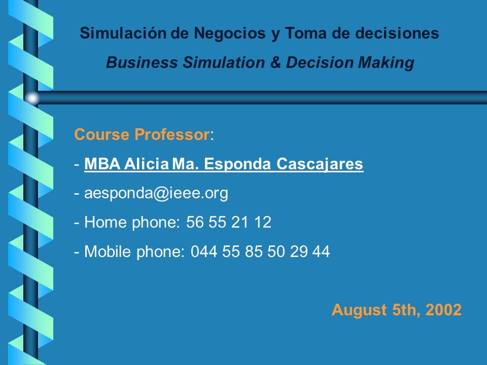 Simulación de Negocios y Toma de decisiones Business Simulation & Decision Making UNIVERSIDAD PANAMERICANA 7° SEMESTRE ESCUELA DE ADMINISTRACIÓN Y FIN