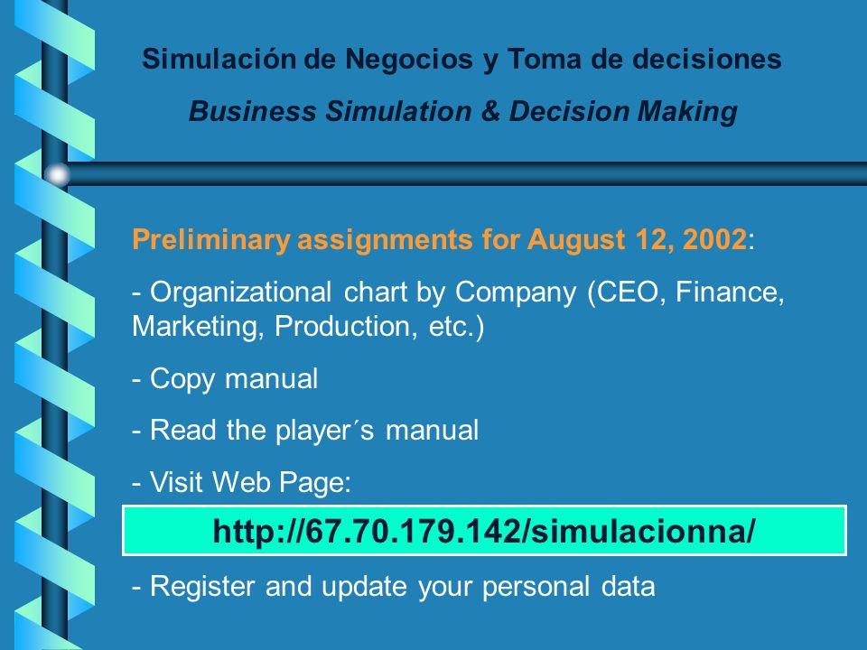 Simulación de Negocios y Toma de decisiones Business Simulation & Decision Making Company 5 Jaime Alejandro Barrios, Sergio Orlando García, Mazmeth Gó