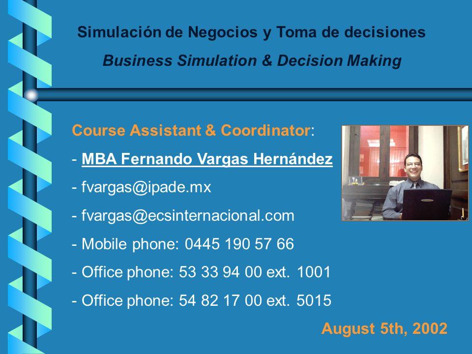 Simulación de Negocios y Toma de decisiones Business Simulation & Decision Making Course Professor: - MBA Alicia Ma. Esponda Cascajares - aesponda@iee