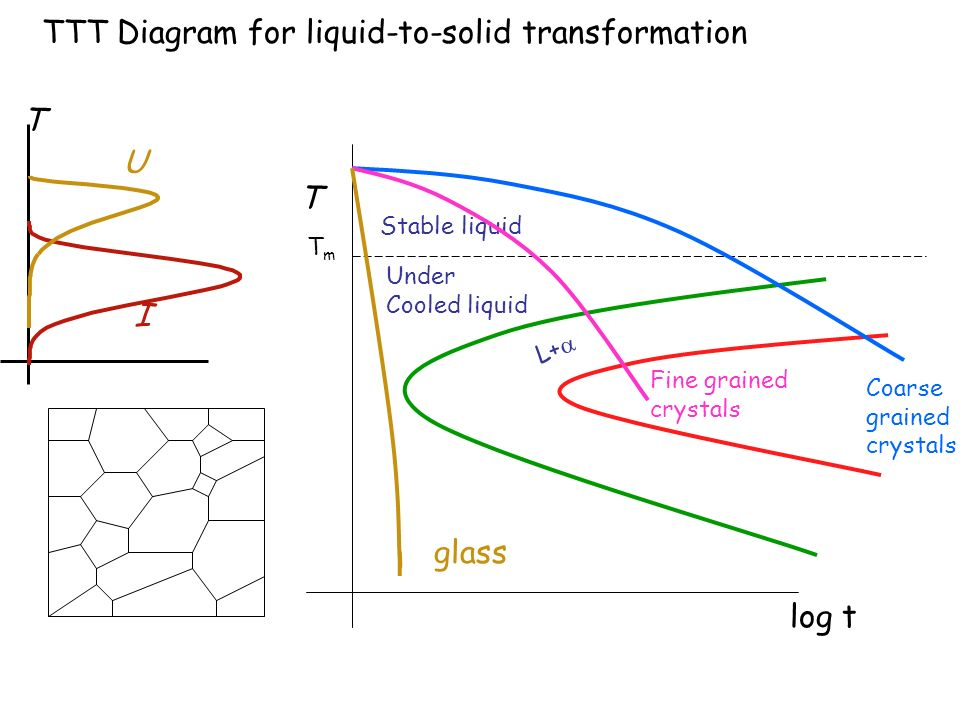 L+ T Stable liquid Under Cooled liquid log t TmTm TTT Diagram for liquid-to-solid transformation U I T Coarse grained crystals Fine grained crystals g