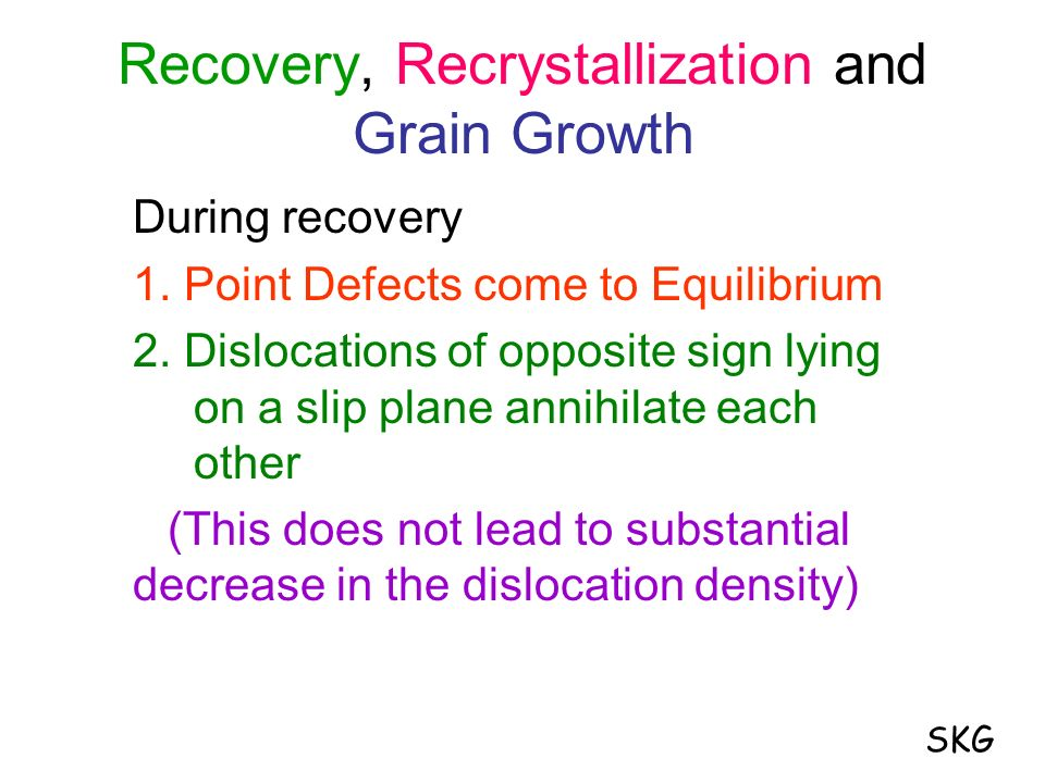 Recovery, Recrystallization and Grain Growth During recovery 1. Point Defects come to Equilibrium 2. Dislocations of opposite sign lying on a slip pla