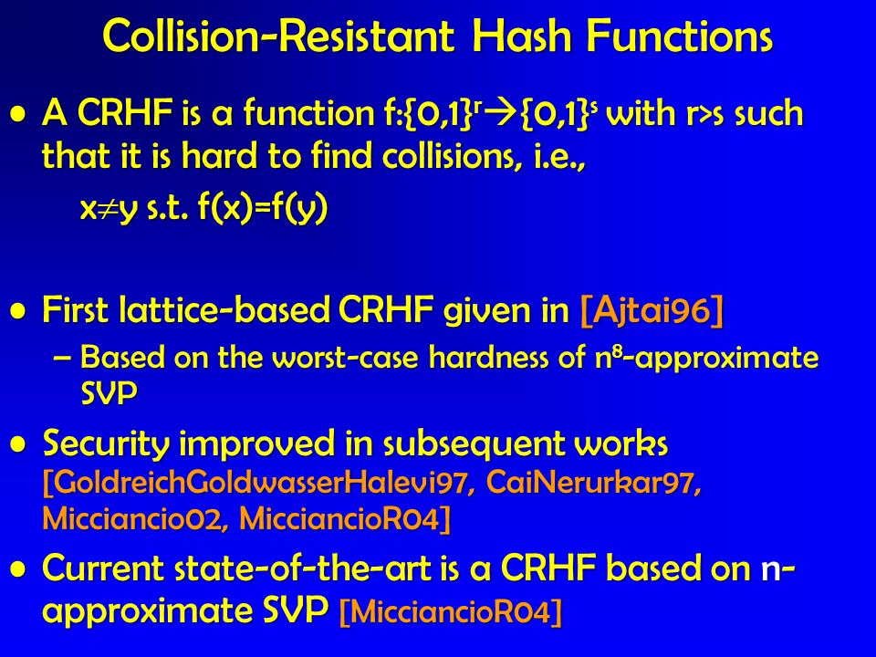 A CRHF is a function f:{0,1} r {0,1} s with r>s such that it is hard to find collisions, i.e.,A CRHF is a function f:{0,1} r {0,1} s with r>s such tha