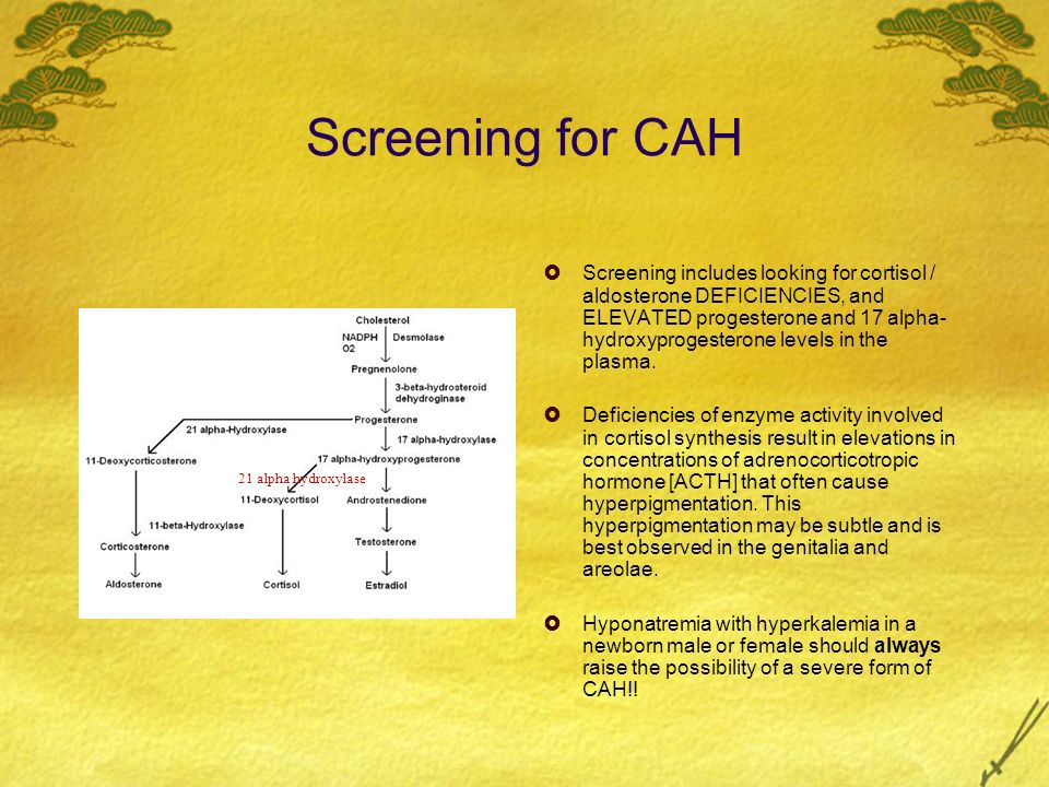 Treatment of CAH All patients who have classic CAH due to 21- alpha hydroxylase deficiency receive long- term glucocorticoid or aldosterone replacement (or both), depending on whether cortisol and/or aldosterone synthesis is affected.
