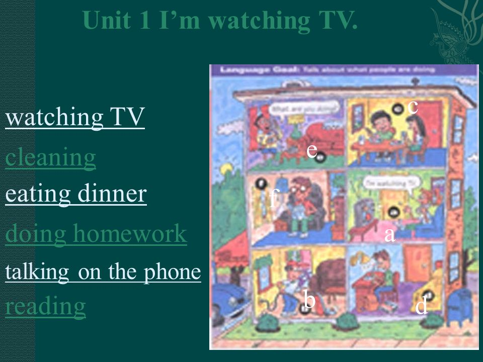 a e f c b d Unit 1 Im watching TV. watching TV cleaning eating dinner doing homework talking on the phone reading