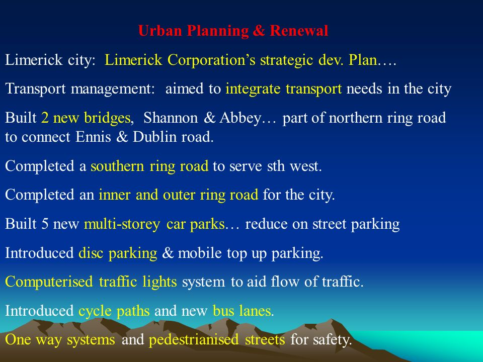 Urban Planning & Renewal Limerick city: Limerick Corporations strategic dev.