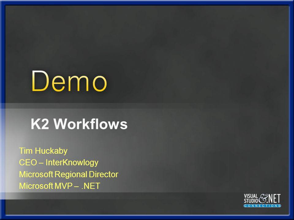 Tim Huckaby CEO – InterKnowlogy Microsoft Regional Director Microsoft MVP –.NET K2 Workflows