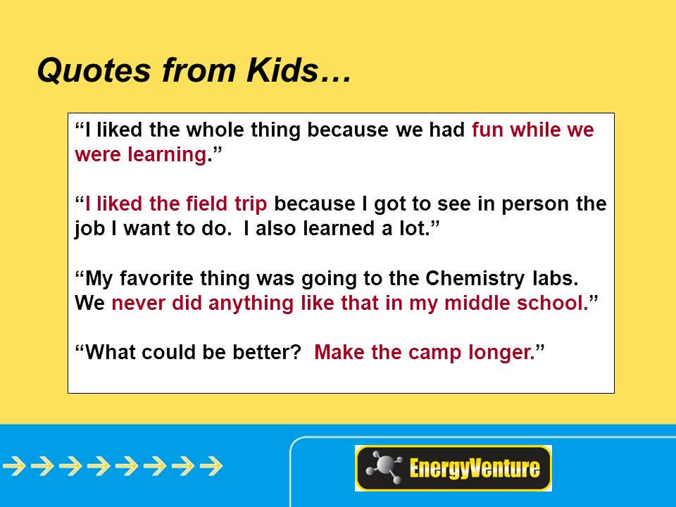 Quotes from Kids… I liked the whole thing because we had fun while we were learning.