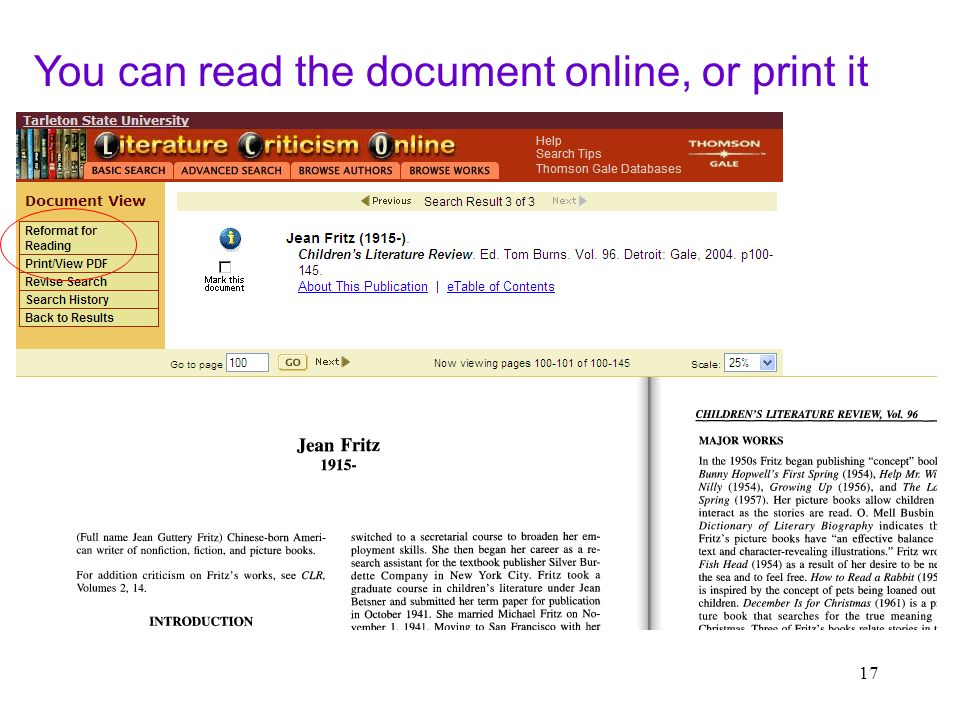 17 You can read the document online, or print it