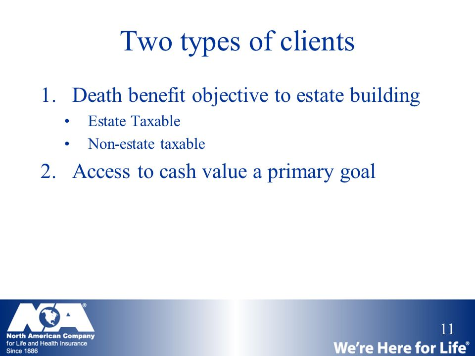 11 Two types of clients 1.Death benefit objective to estate building Estate Taxable Non-estate taxable 2.Access to cash value a primary goal