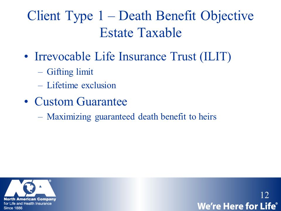 12 Client Type 1 – Death Benefit Objective Estate Taxable Irrevocable Life Insurance Trust (ILIT) –Gifting limit –Lifetime exclusion Custom Guarantee