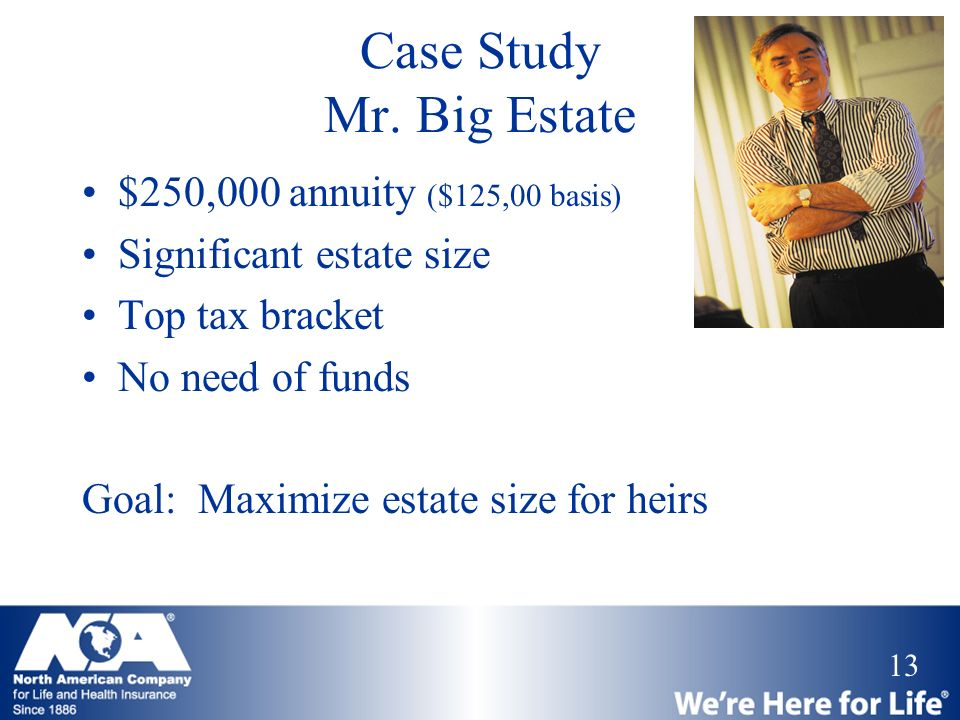 13 Case Study Mr. Big Estate $250,000 annuity ($125,00 basis) Significant estate size Top tax bracket No need of funds Goal: Maximize estate size for