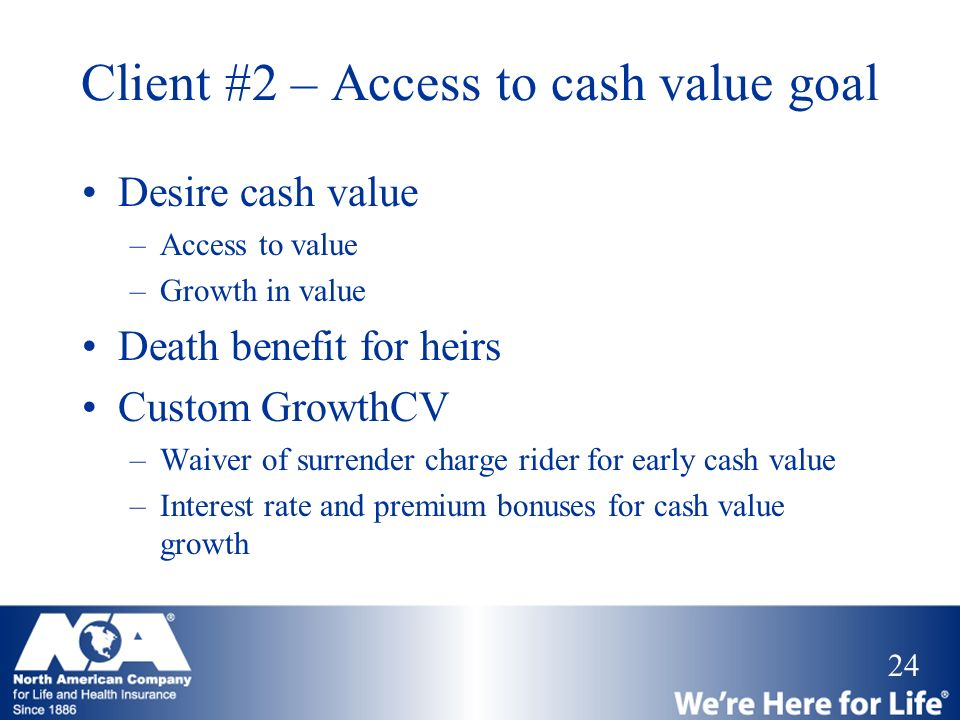24 Client #2 – Access to cash value goal Desire cash value –Access to value –Growth in value Death benefit for heirs Custom GrowthCV –Waiver of surren